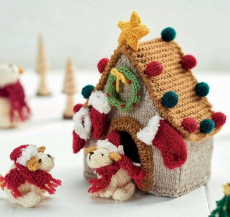 Free Knitting Pattern for Christmas Pups
