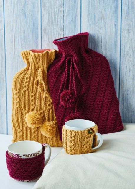 Free Knitting Pattern For Hot Water Bottle Covers Mug Cosies