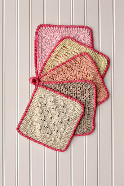 Free Knitting Pattern for Lace Sampler Dishcloths