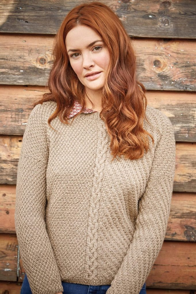 Free Knitting Pattern for Portico A Cable and Textured Sweater ...