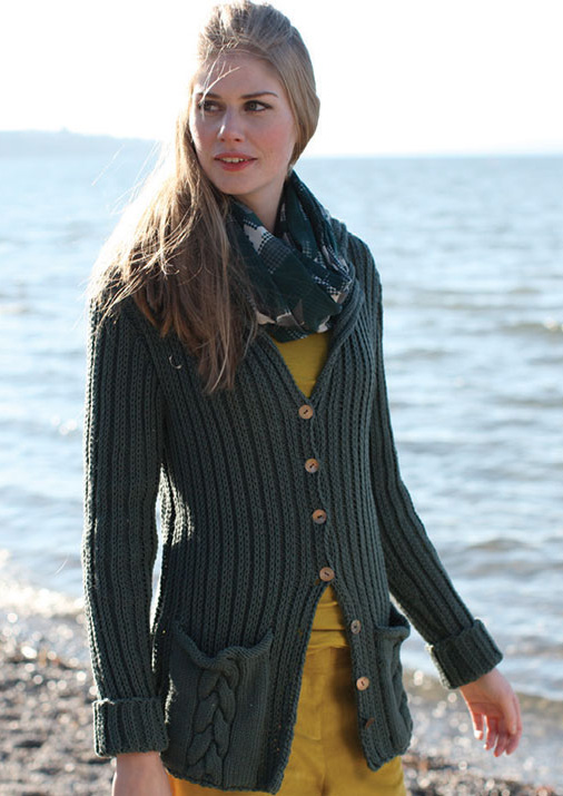 Free Knitting Pattern for Ribbed Cardigan with Pockets