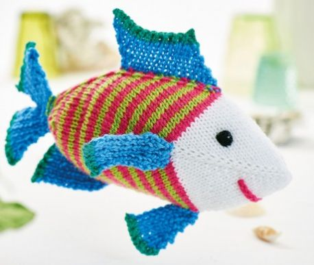 Free Knitting Pattern for Steve the Fish Toy