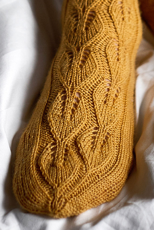 Free Knitting Pattern for Under the Birch Tree Lace Socks