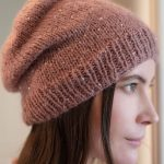 Free Knitting Pattern for a Beginner Beanie. Beginner beanie to knit for ladies in stockinette stitch with a rib stitch edge.