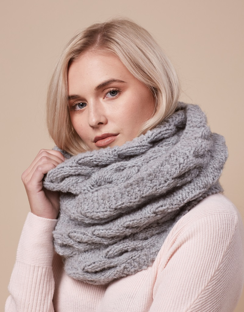 Free Knitting Pattern for a Big Cable and Garter Stitch Edge Scarf