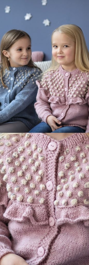Free Knitting Pattern for a Bobble Yoke Girl's Cardigan