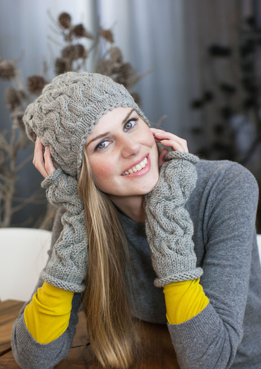 Free Knitting Pattern for a Cabled Hat and Wrist-warmers