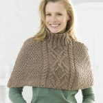 Free Knitting Pattern for a Cabled Poncho with Polo Neck