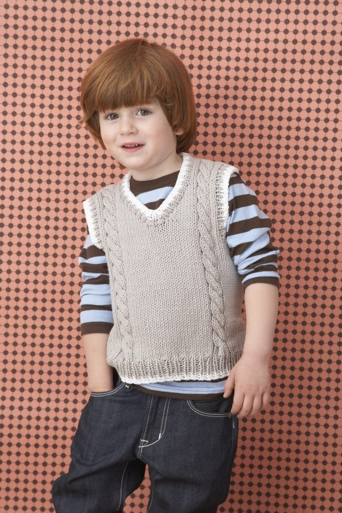 Free Knitting Pattern for a Child's Cable Vest Pattern