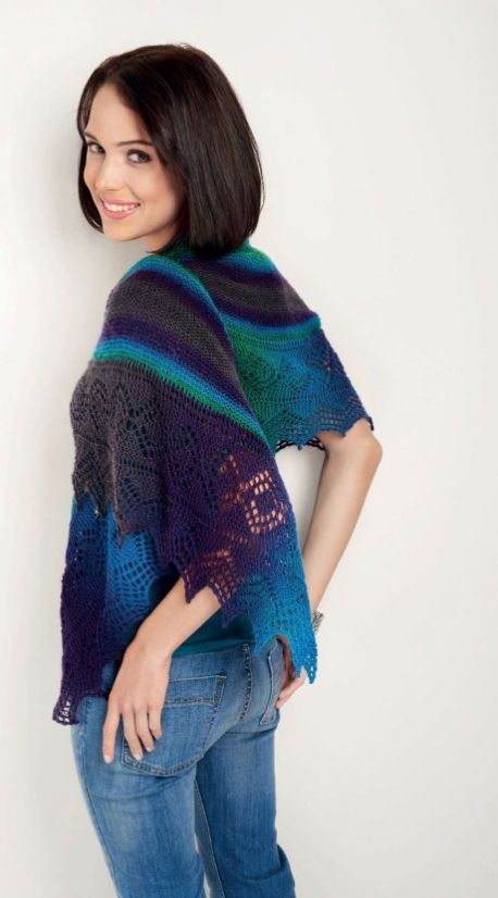 Free Knitting Pattern for a Colourful Lace Shawl