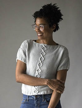 Free Knitting Pattern for a Cora Crop Top with Cables