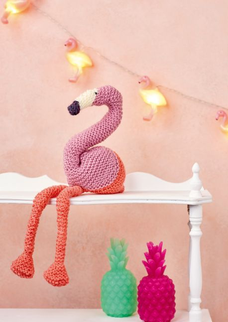 Free Knitting Pattern for a Fancy Flamingo Toy