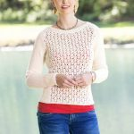 Free Knitting Pattern for a Fleurette Lace Pullover
