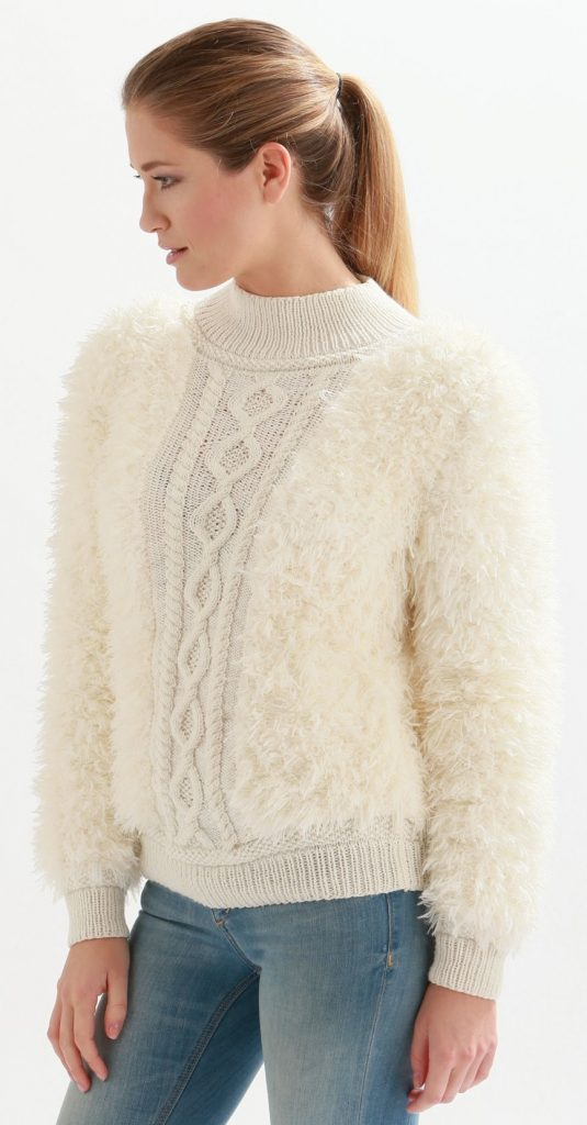 Free Knitting Pattern for a Fluffy and Cable Panel Sweater ...