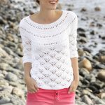 Free Knitting Pattern for a Lace Round Yoke Top