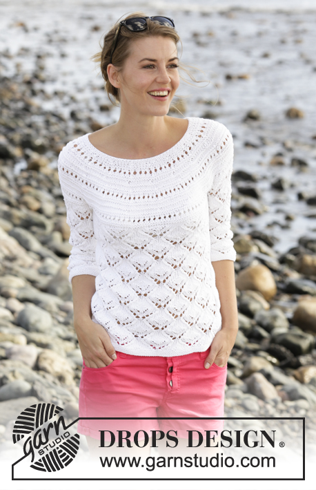 Free Knitting Pattern for a Lace Round Yoke Top