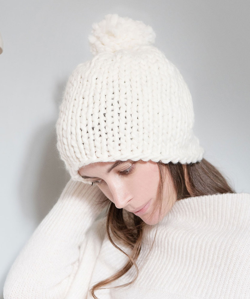 Free Knitting Pattern for a Latte Classico Hat. Easy stockinette stitch hat in bulky yarn with pompom..