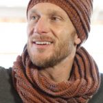 Free Knitting Pattern for a Mans Cap and Infinity Scarf