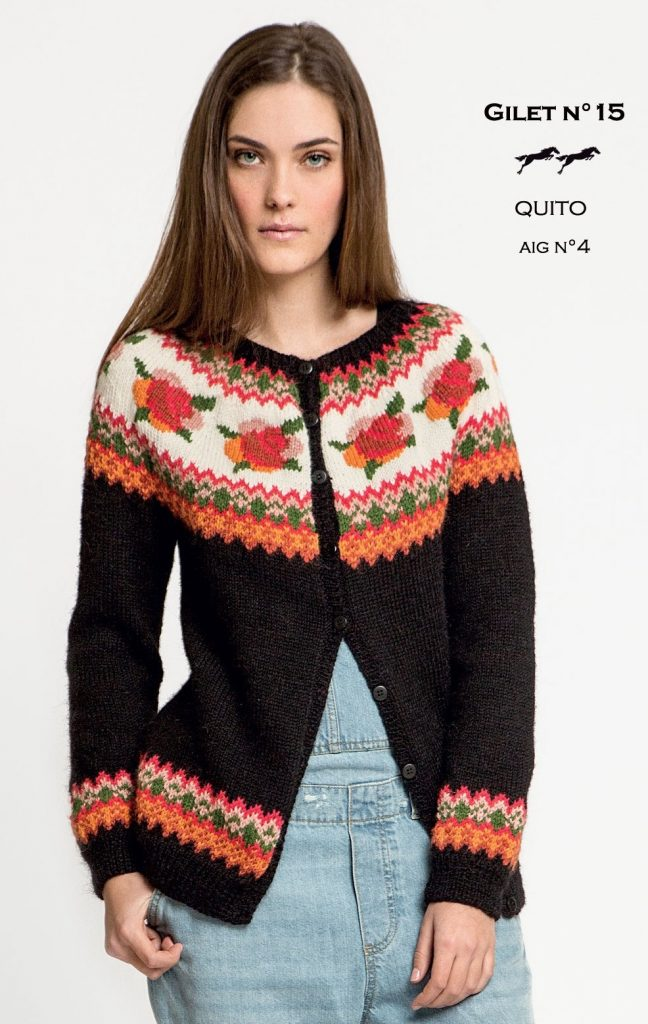 Free Knitting Pattern for a Rose Fair Isle Yoke Cardigan