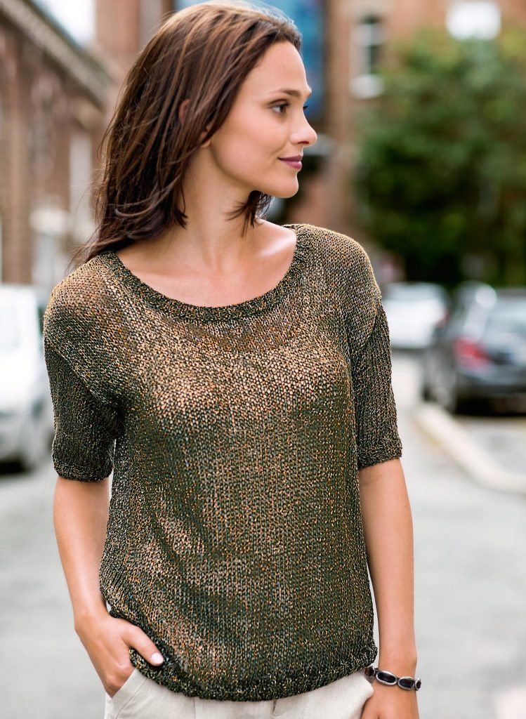 Free Knitting Pattern for a Round Neck Short Sleeve Sweater