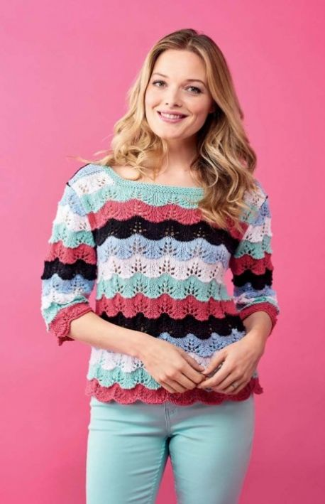 Free Knitting Pattern for a Scallop Sweater for Summer