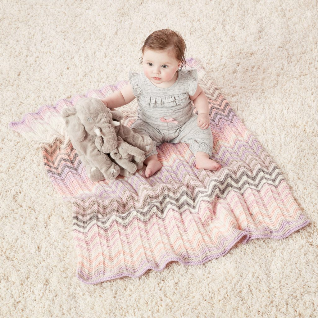 Free Knitting Pattern for a Shaded Chevrons Knit Baby Blanket