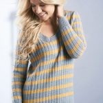 Free Knitting Pattern for a Stripe Rib Sweater
