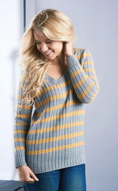 Free Knitting Pattern for a Stripe Rib Sweater