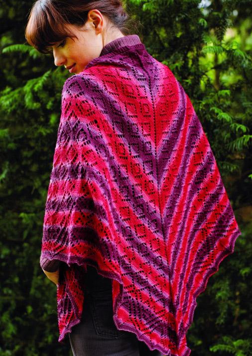 Free Knitting Pattern for a Triangular Diamond Lace Shawl