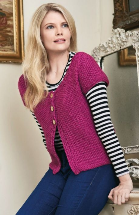 Free Knitting Pattern for a Women's Simple Cardigan