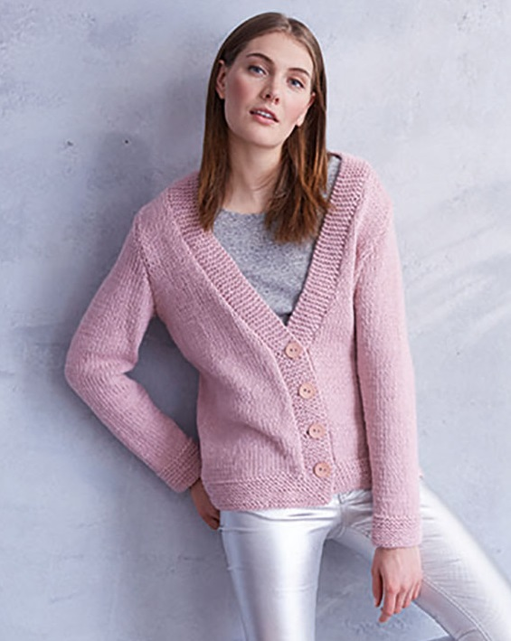 Free Knitting Pattern for an Easy V-Neck Jacket