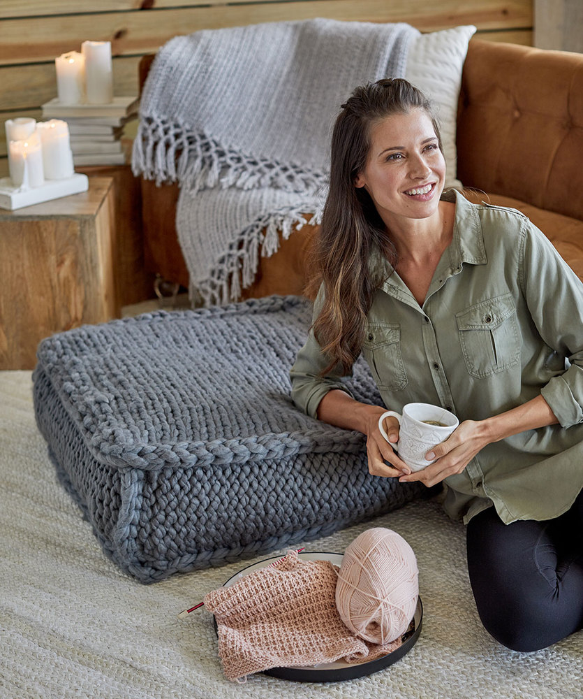 Free Knitting Pattern for an Extra Seating Floor Pillow