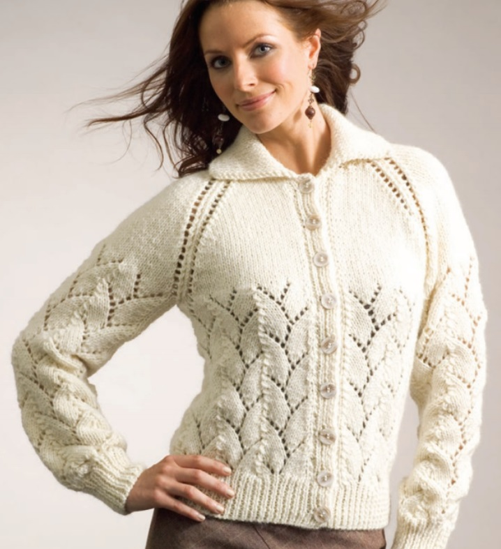 Free Knitting Pattern for an Eyelet and Lace Cardigan by Patons