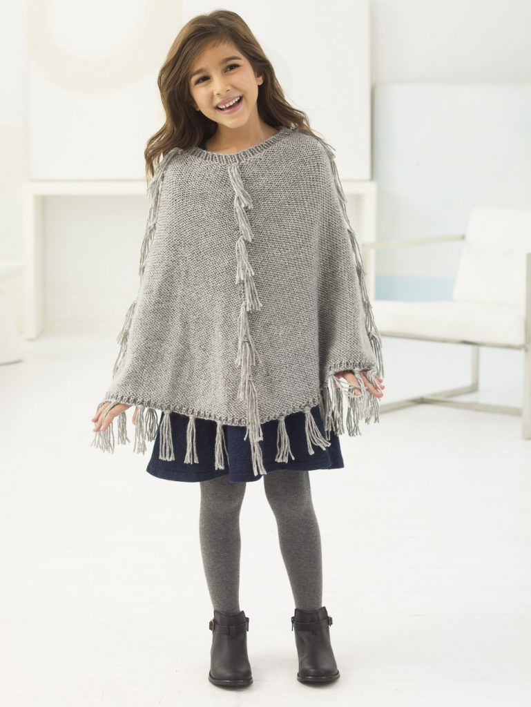 Free Knitting Pattern for an Easy Girl's Fringed Poncho
