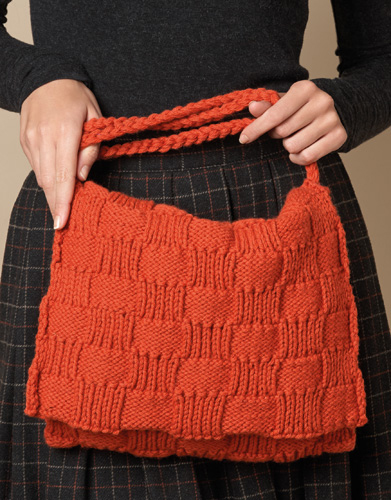 Free Knitting Pattern for a Textured Checkered Bag