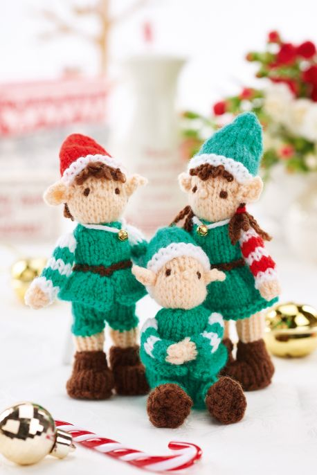 Free Knitting Pattern for Mini Christmas Elves Toys