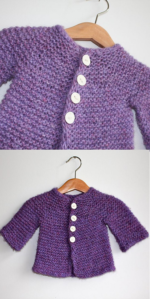Free Knitting Pattern for a Baby and Toddles Easy Cardigan in Garter Stitch