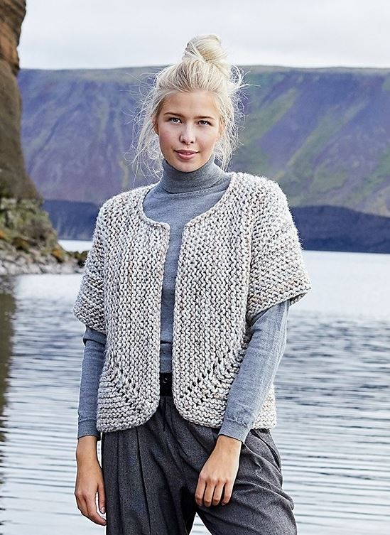Free Knitting Pattern for a Jutka Cardigan with Chunky Yarn