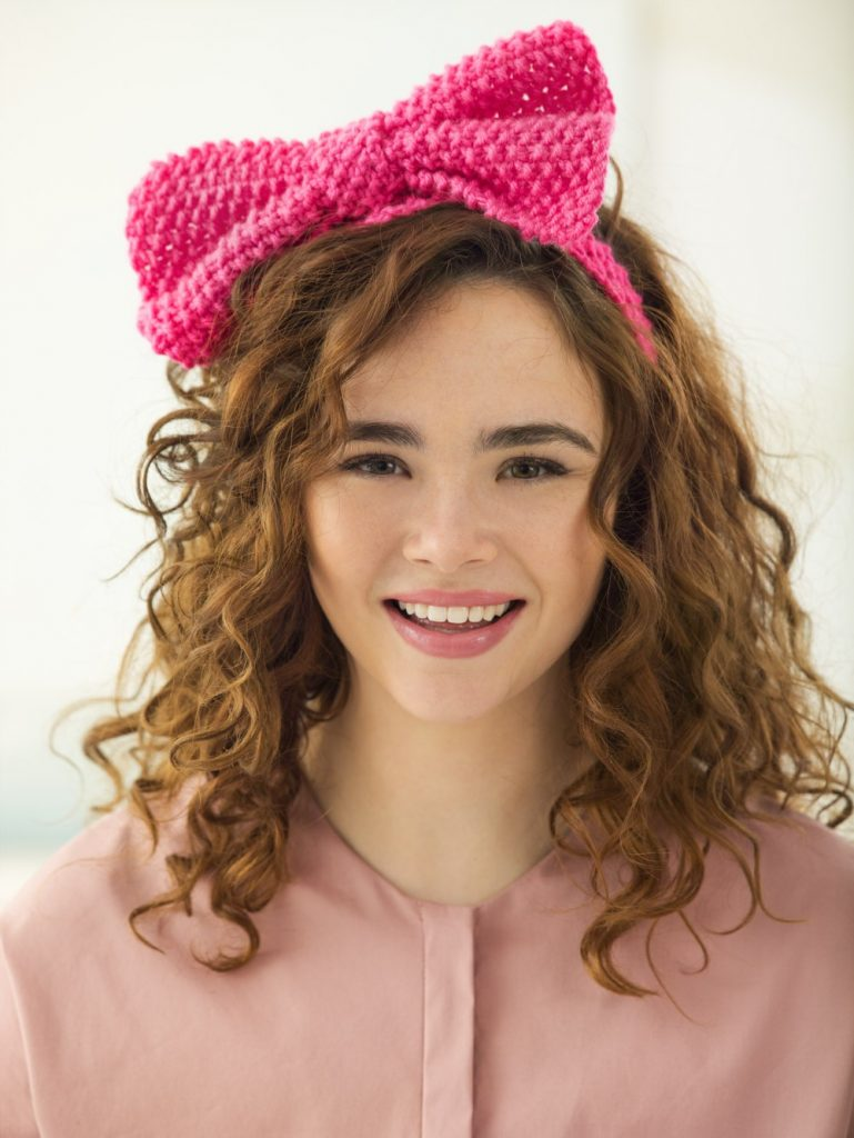 Free Knitting Pattern for a Seed Stitch Bow Headband