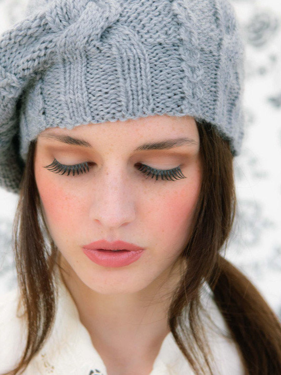 Free Knitting Pattern for a Slouchy Beanie with Cables