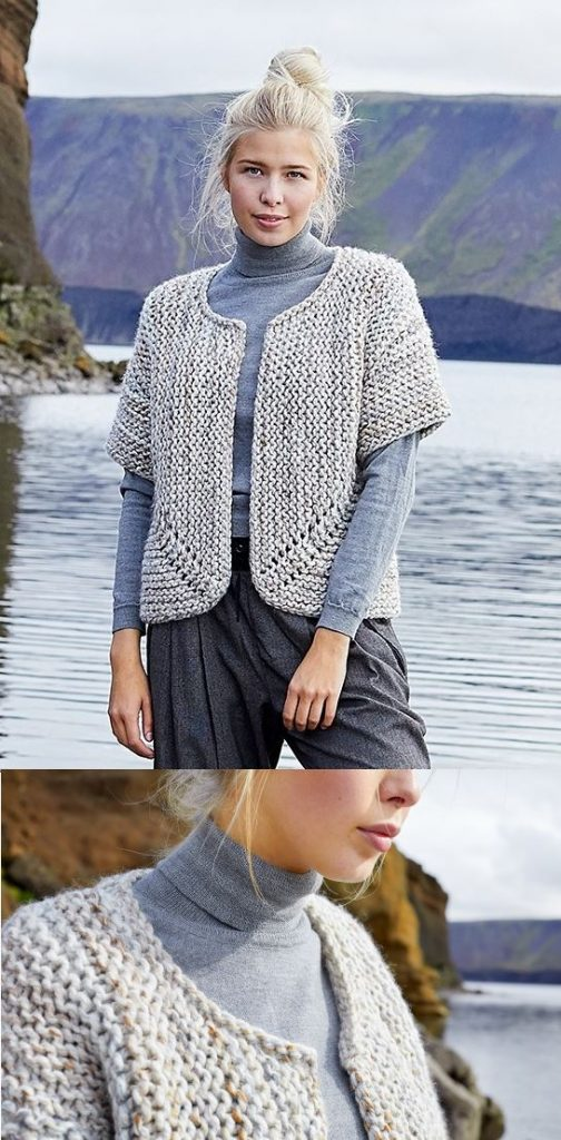 Free Knitting Pattern for a short sleeves garter stitch cardigan to knit with bulky yarn