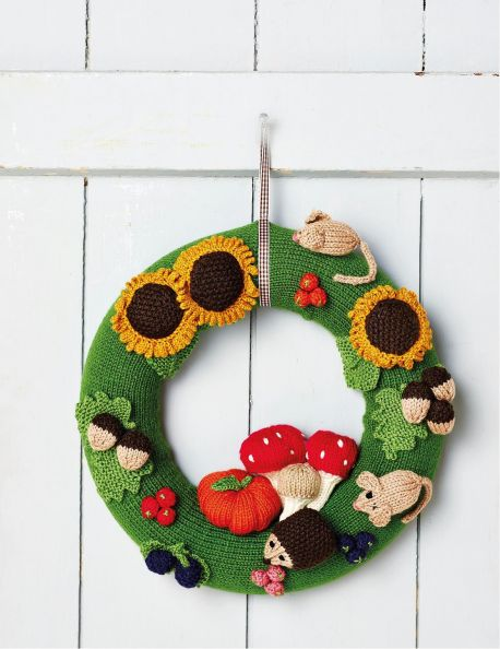 Free Knitting Pattern For An Autumn Wreath Knitting Bee