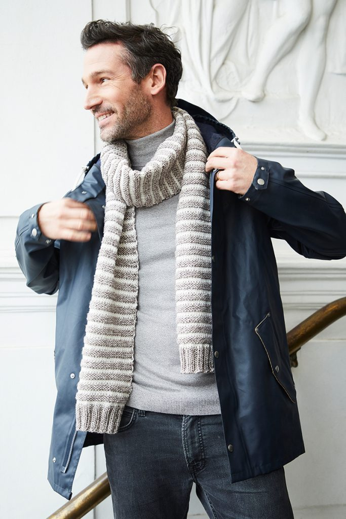 Free Knitting Pattern for an Easy Men's Scarf with Stripes