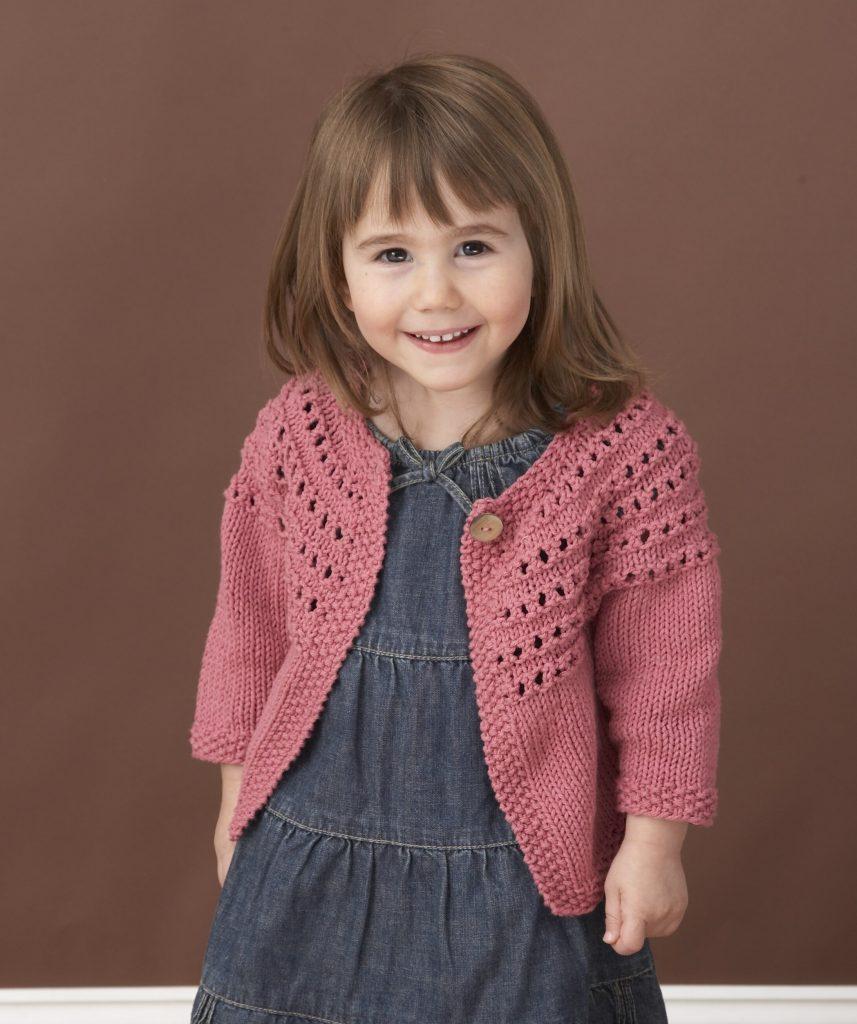 Free Knitting Patterns for Toddlers Eyelet Yoke Cardigan