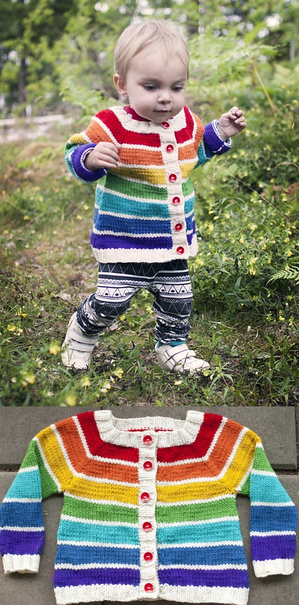 Free Knitting Patterns for Toddlers Rainbow Cardigan