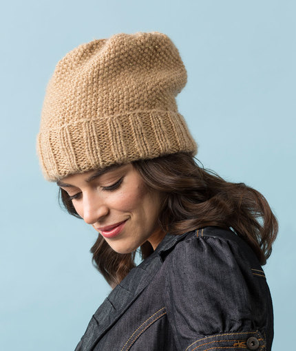 Seed stitch slouchy hat knitting pattern free