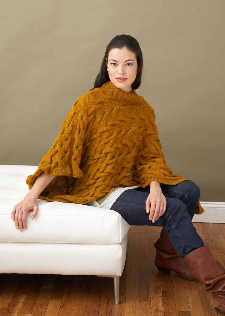 Free Knitting Pattern for a Broken Cables Poncho