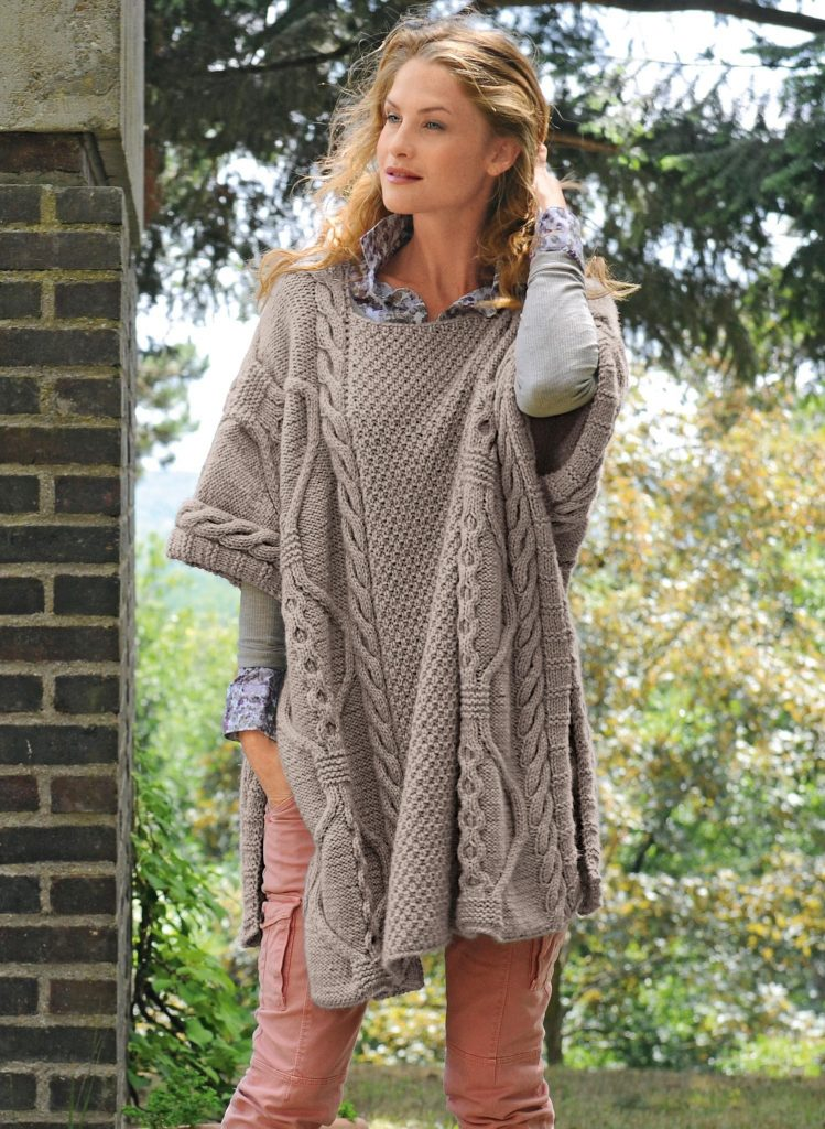 Free Knitting Pattern for a Cable and Texture Poncho for Women