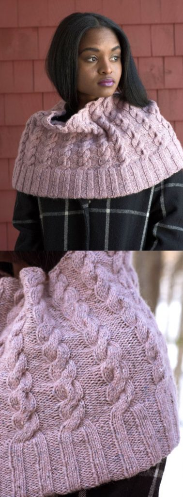 Free Knitting Pattern for a Cabled Capelet Josie