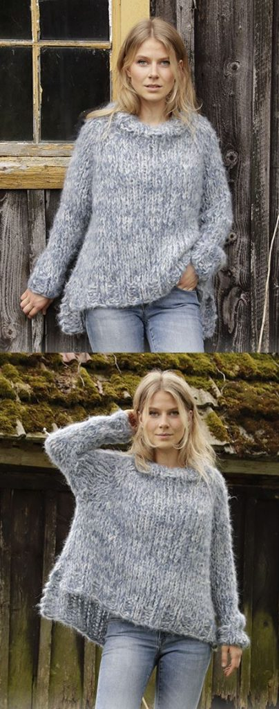 Free Knitting Pattern for a Chunky Knit Sweater. Raglan sweater worked top down with high neck and split in sides.